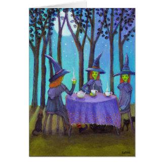 月のメッセージカードの下の魔法使いの茶時間 カード