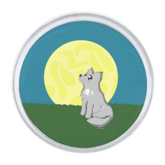 月のラペルピンを持つかわいくだらしないオオカミ シルバー ラペルピン