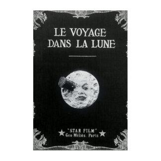 月のヴィンテージのレトロのフランスのな映画館への旅行 アクリルウォールアート
