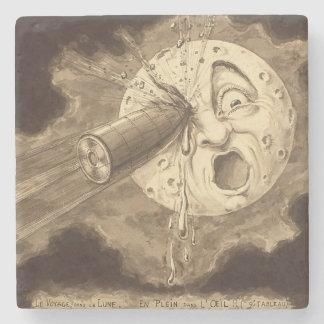 月のヴィンテージの引くことへの旅行 ストーンコースター