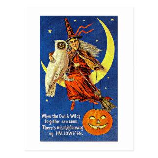 月のヴィンテージハロウィンの魔法使いそしてフクロウ はがき