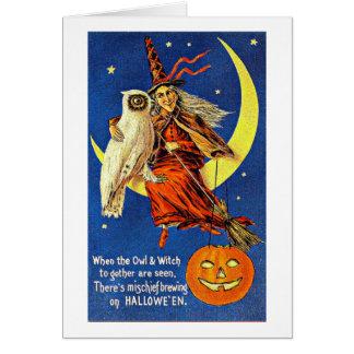 月のヴィンテージハロウィンの魔法使いそしてフクロウ グリーティングカード