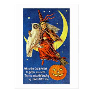 月のヴィンテージハロウィンの魔法使いそしてフクロウ ポストカード