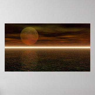 月の上昇のアクアリウムの背景 ポスター