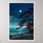 月の二宮海岸、Ninomiyaのビーチ、Hasui Kawaseの川瀬巴水の月 ポスター