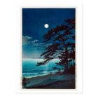 月の二宮海岸、Ninomiyaのビーチ、Hasui Kawaseの川瀬巴水の月 ポストカード