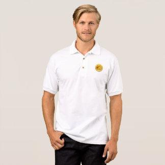 月の人のポロジャージーへのDOGECOIN ポロシャツ