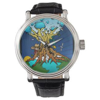 月の地球のお祝いのタイムマシン 腕時計