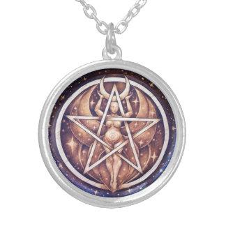 月の女神の星形五角形のペンダント-シルバー・トーン媒体 シルバープレートネックレス