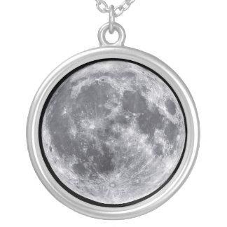 月の宇宙の惑星のチャームのネックレス シルバープレートネックレス