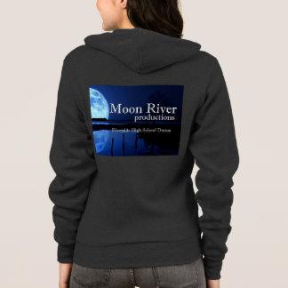 月の川のロゴのフード付きスウェットシャツ パーカ