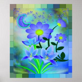 月の庭の花の混合メディア ポスター