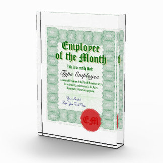 月の従業員に賞を証明させます 表彰盾