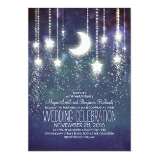 月の星及びひもライトヴィンテージの結婚 カード