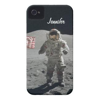 月の歩行の宇宙飛行士の宇宙のカスタムな女の子の名前 Case-Mate iPhone 4 ケース