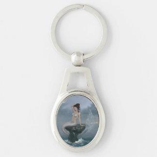 月の潮人魚の楕円形Keychain キーホルダー