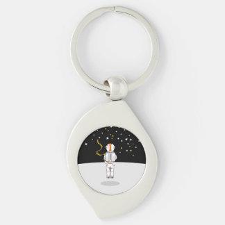 月の無重力状態のWeeingおもしろいな宇宙飛行士 キーホルダー