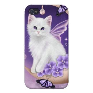 月の紫色の蝶iphone 4ケースの白い猫 iPhone 4/4S カバー