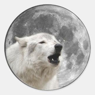 月の遠ぼえのオオカミ ラウンドシール