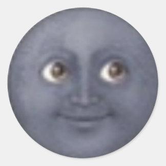 月のemojiのステッカー ラウンドシール
