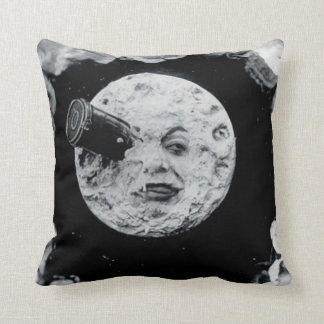 月への旅行(白黒) クッション