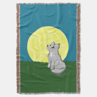 月を持つかわいくだらしないオオカミ スローブランケット