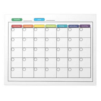 月例カレンダーのメモ帳 ノートパッド