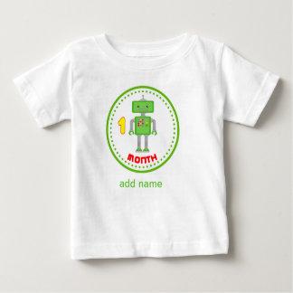 月例ベビーのワイシャツの緑のロボットデザイン ベビーTシャツ