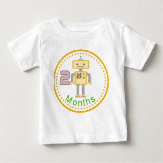 月例ベビーのワイシャツ黄色いロボットデザイン2か月の ベビーTシャツ
