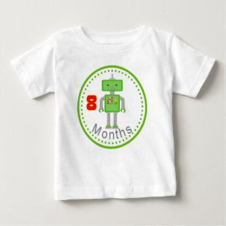 月例ベビーのTシャツ8か月の緑のロボット ベビーTシャツ