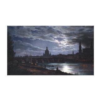 月光によるドレスデンのヨハンキリスト教のDahlの眺め キャンバスプリント