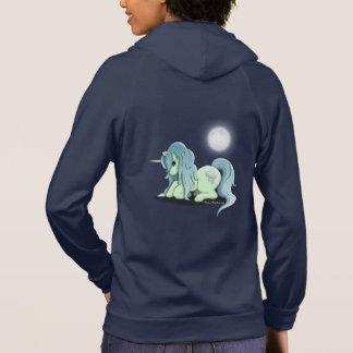 月光のユニコーンの女性はフード付きスウェットシャツのスエットシャツのファスナーを締めます パーカ