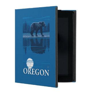 月光のヴィンテージ旅行ポスターのくま iPad ケース