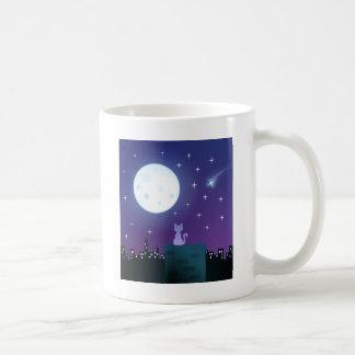 月光の下の猫 コーヒーマグカップ