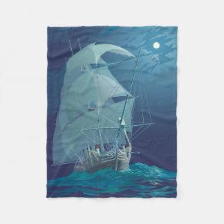 月光の帆船の小さいフリースブランケット フリースブランケット