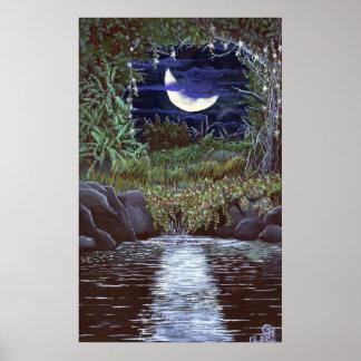 月光の滝のアクリルの絵画の芸術のプリント ポスター