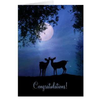 月光の結婚式のお祝いのかわいいシカ カード