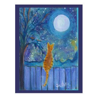月光の郵便はがきの猫 ポストカード