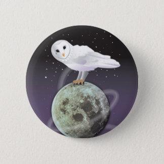月光のSnowyのフクロウ 5.7cm 丸型バッジ