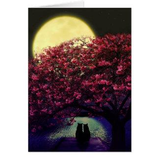 月光を賞賛している2匹の猫 カード