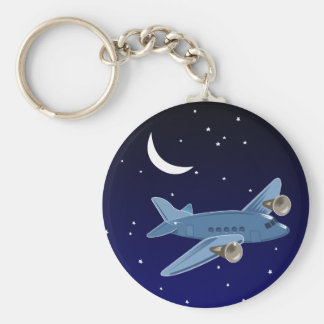 月及び星との夜の飛行機の飛行。 パイロット キーホルダー