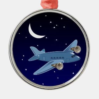 月及び星との夜の飛行機の飛行。 パイロット メタルオーナメント