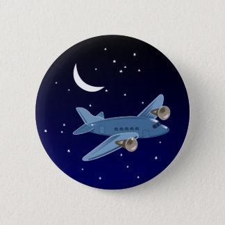 月及び星との夜の飛行機の飛行。 パイロット 5.7CM 丸型バッジ