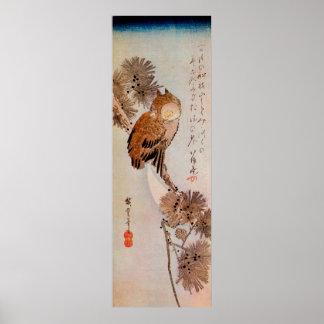 月夜のみみずく、広重の月光のフクロウ、Hiroshige、Ukiyo-e ポスター