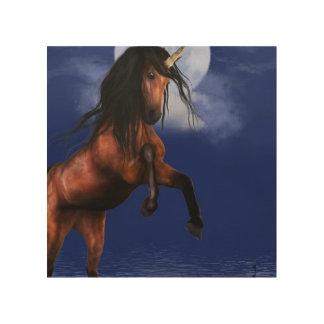 月明りのユニコーン ウッドウォールアート