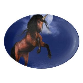 月明りのユニコーン 磁器大皿