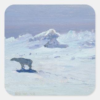 月明りの夜1899年の白くまの狩り スクエアシール