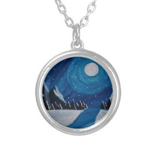 月明りの山 シルバープレートネックレス