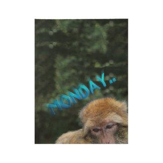 月曜日について悲しい猿 ウッドポスター