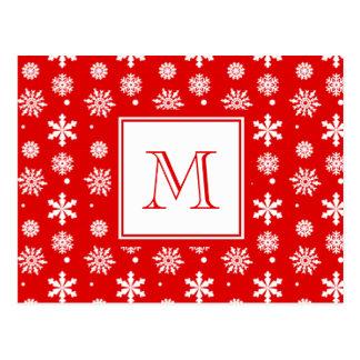 月曜日の明るい赤と白の雪片パターン1 ポストカード